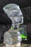 Bust of Queen Nefertiti in the exhibition of ice sculptures. Royalty Free Stock Photos