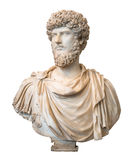 Bust of the roman emperor Lucius Verus isolated on white Royalty Free Stock Photos
