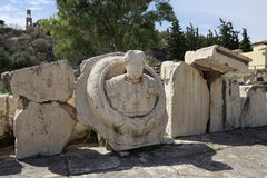 Bust of Roman Emperor Marcus Aurelius in the archaelogical site Stock Images