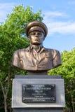 Bust to the legendary landing troops commander V.F. Margelov Stock Photo