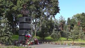 Bust to legendary landing troops commander V.Margelov close stock video footage