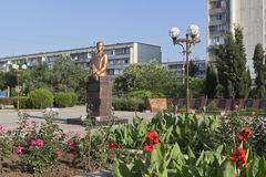 Bust to Sergei Leonidovich Sokolov in the square named after Marshal Sokolov in the city of Evpatoria, Crimea Stock Photo
