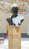 Bust of Vasil Levski in the snow-covered street in the center of Bulgarian Pomorie, winter 2017 Royalty Free Stock Photo