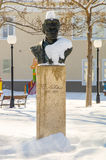 Bust of Vasil Levski in the snow-covered street in the center of Pomorie in Bulgaria, winter 2017 Stock Photos