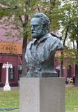 Bust of Victor Hugo in the Hermitage Garden in the center of Moscow stock photography