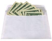 Busta bianca isolata con i dollari su bianco, Immagine Stock