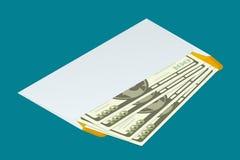 Busta bianca isometrica con soldi Invii il concetto dei soldi Illustrazione piana di vettore 3d Per i giochi di progettazione e d Fotografia Stock