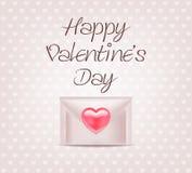 Busta con cuore Giorno del biglietto di S Stampa di amore Illustrazione di Stock