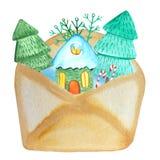 Busta con gli alberi di Natale, neve, casa leggiadramente di Kraft illustrazione di natale dell'acquerello per i manifesti e le s illustrazione vettoriale