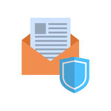 Busta con il concetto di protezione dei dati della posta dell'icona dello schermo illustrazione di stock