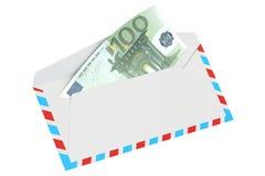 Busta con 100 l'euro, rappresentazione 3D Fotografie Stock Libere da Diritti