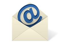 Busta del email su priorità bassa bianca Immagine Stock
