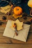 Busta del mestiere con le foglie immagine stock