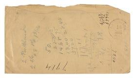 Busta dell'annata indietro usata per per la matematica Immagini Stock Libere da Diritti