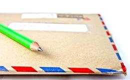 Busta della posta di aria e della matita immagini stock libere da diritti