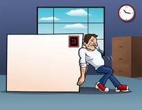 Busta dello spazio in bianco di spinta dell'uomo grande in ufficio Immagini Stock