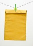 Busta e clothespin verde Immagini Stock Libere da Diritti