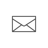 Busta, posta, barra dei messaggi icona, segno di vettore del profilo, pittogramma lineare di stile isolato su bianco Immagini Stock