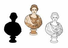 Buste antique d'une femme illustration de vecteur
