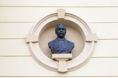 Buste at the building facade. Buste at the old building facade after renovation in Croatian capital Zagreb. Bust is showing Austrian architect Herman  Bollé who Stock Photography