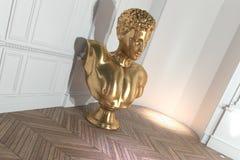 Buste classique d'or dans un intérieur de luxe de maison Image stock