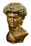 Buste de bronze de David d'isolement photographie stock libre de droits