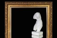 Buste de plâtre de Vénus dans le cadre de tableau sur le fond noir photographie stock libre de droits
