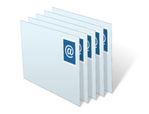 Buste del email impilate in Inbox Immagine Stock