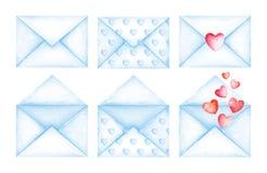 Buste sveglie del blu del messaggio di amore Illustrazione dell'acquerello Fotografie Stock