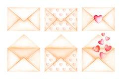 Buste sveglie di beige del messaggio di amore Illustrazione dell'acquerello Immagine Stock Libera da Diritti