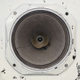 Busted old paper cone audio speaker closeup Royalty Free Stock Images