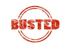 Busted red rubber stamp Royalty Free Stock Photo