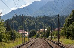 Railway track in a mountain landscape. royalty free stock image