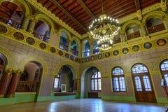 Busteni Rumänien - Juni 10: Den Cantacuzino slotten, Juni 10, 201 Royaltyfri Bild
