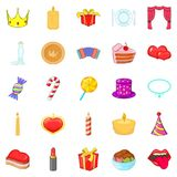 Buster icons set, cartoon style Royalty Free Stock Images