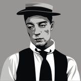 Buster Keaton - mój oryginalna karykatura Zdjęcie Royalty Free