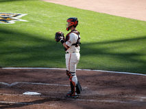 Buster Posey stands in catcher gear. SAN FRANCISCO, CA - OCTOBER 19: San Francisco Giants vs. Philadelphia Phillies:Catcher Buster Posey stands in catcher gear Stock Photo