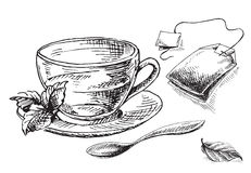 Bustina della tazza, della menta e di tè illustrazione di stock