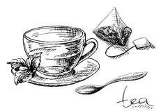 Bustina della tazza, della menta e di tè illustrazione vettoriale