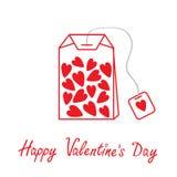 Bustina di tè con i cuori. Carta felice di giorno di biglietti di S. Valentino. Fotografia Stock