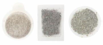 Bustine di tè di carta sopra bianco Fotografia Stock Libera da Diritti