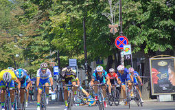 Bustle at the cycling tour finish Royalty Free Stock Images