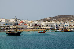 BUSTLING CITY IN THE SEA. A VIEW OF MYKONOS, GREECE FROM THE MEDITERRANEAN SEA stock photos