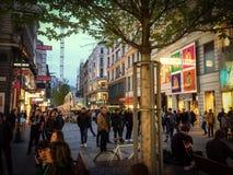 Bustling city street stock images
