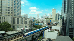 The bustling downtown Bangkok with Skytrain Royalty Free Stock Images