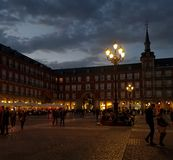 Nightlife at the Plaza Mayor in Madrid stock photos