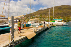 A bustling marina in the windward islands Royalty Free Stock Photos