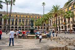 Bustling Placa Reial, Barcelona, Spain Stock Images