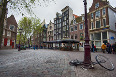 Bustling street in amsterdam Royalty Free Stock Photo