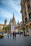 Bustling Street and Barcelona Cathedral, Spain Royalty Free Stock Photos